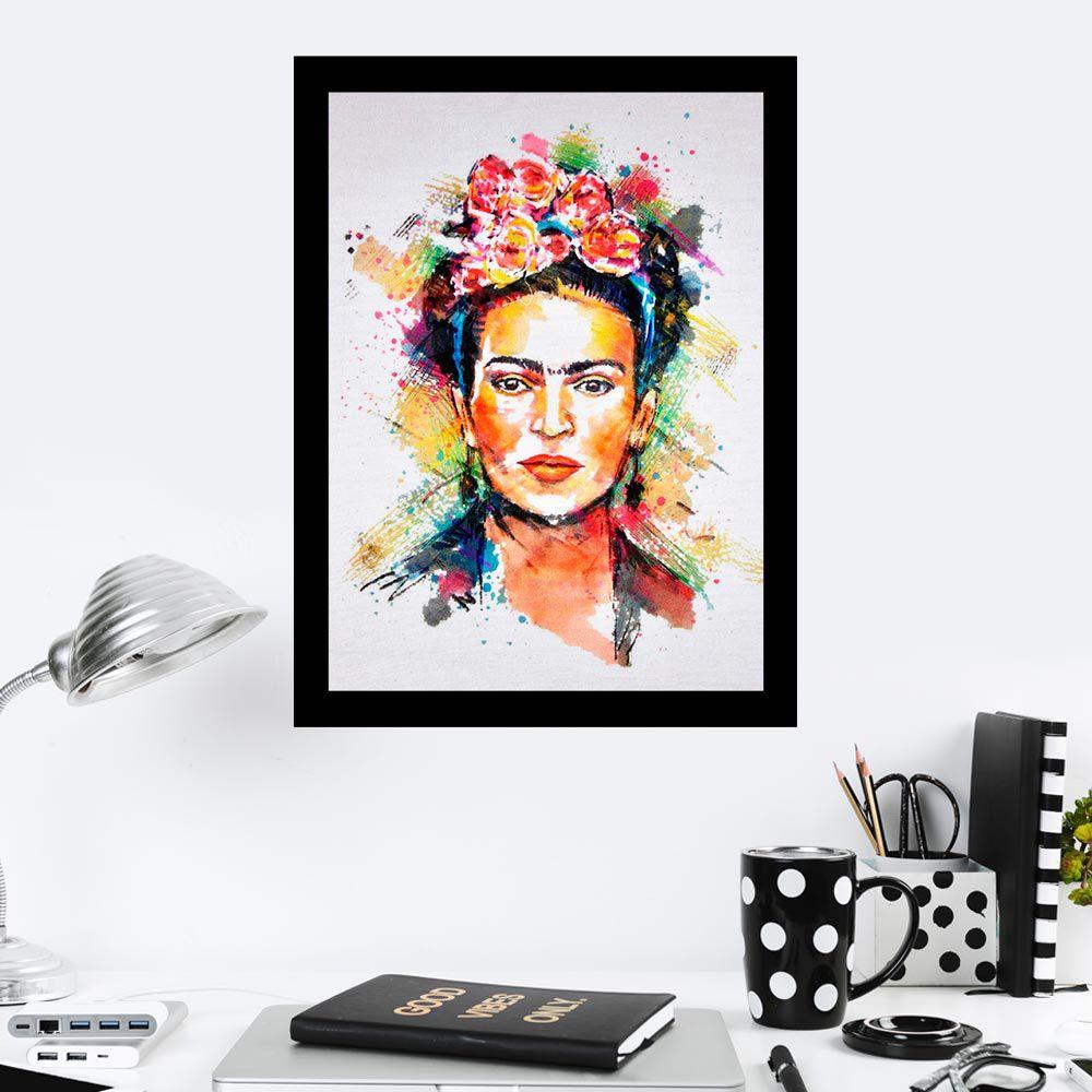 Quadro Decorativo 27x36 Frida Pintura Colorida