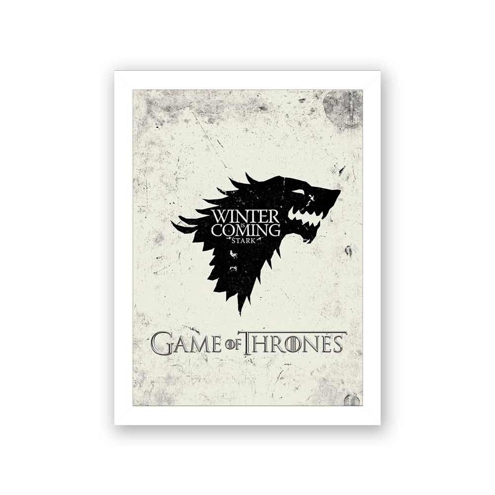 Quadro Decorativo 27x36 Game of Thrones Winter Coming - Preto e Branco