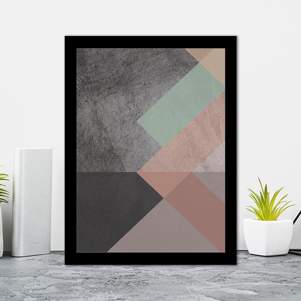 Quadro Decorativo 27x36 Geométrico com Formatos Triangulares