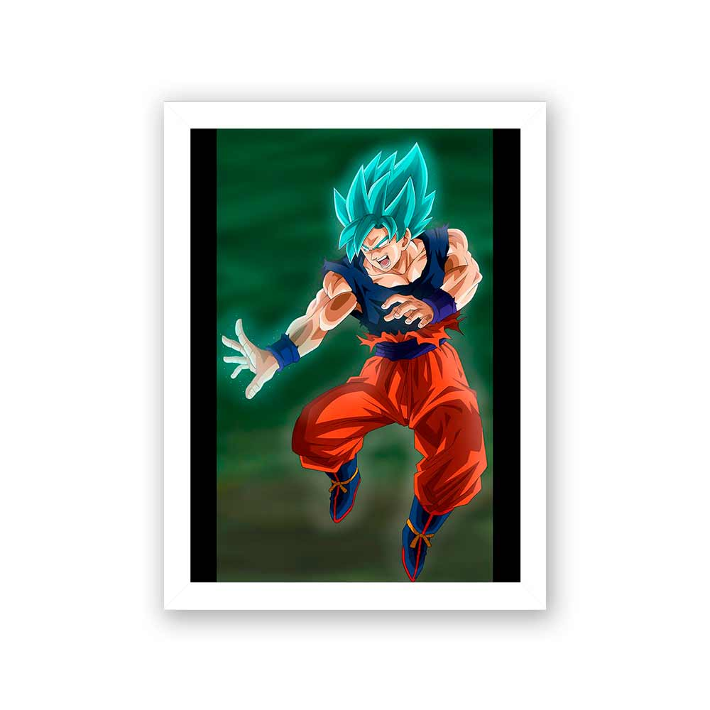 Quadro Decorativo 27x36  Goku Super Sayayin Blu Perfecto Hakai
