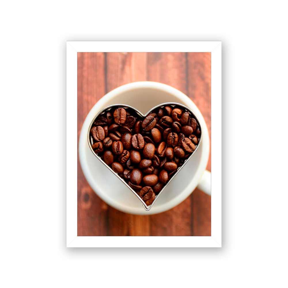 Quadro Decorativo 27x36 Grãos de Café Coração