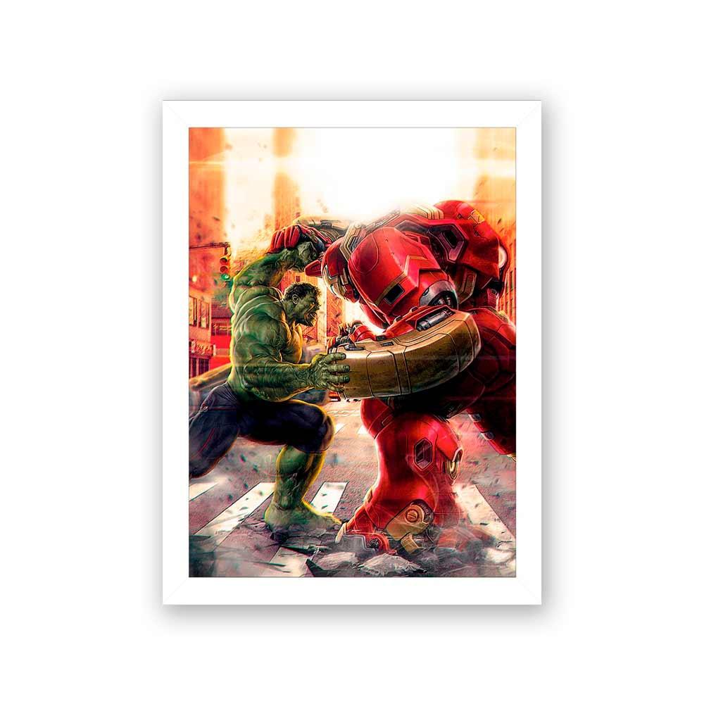 Quadro Decorativo 27X36 Hulk VS Hulkbuster