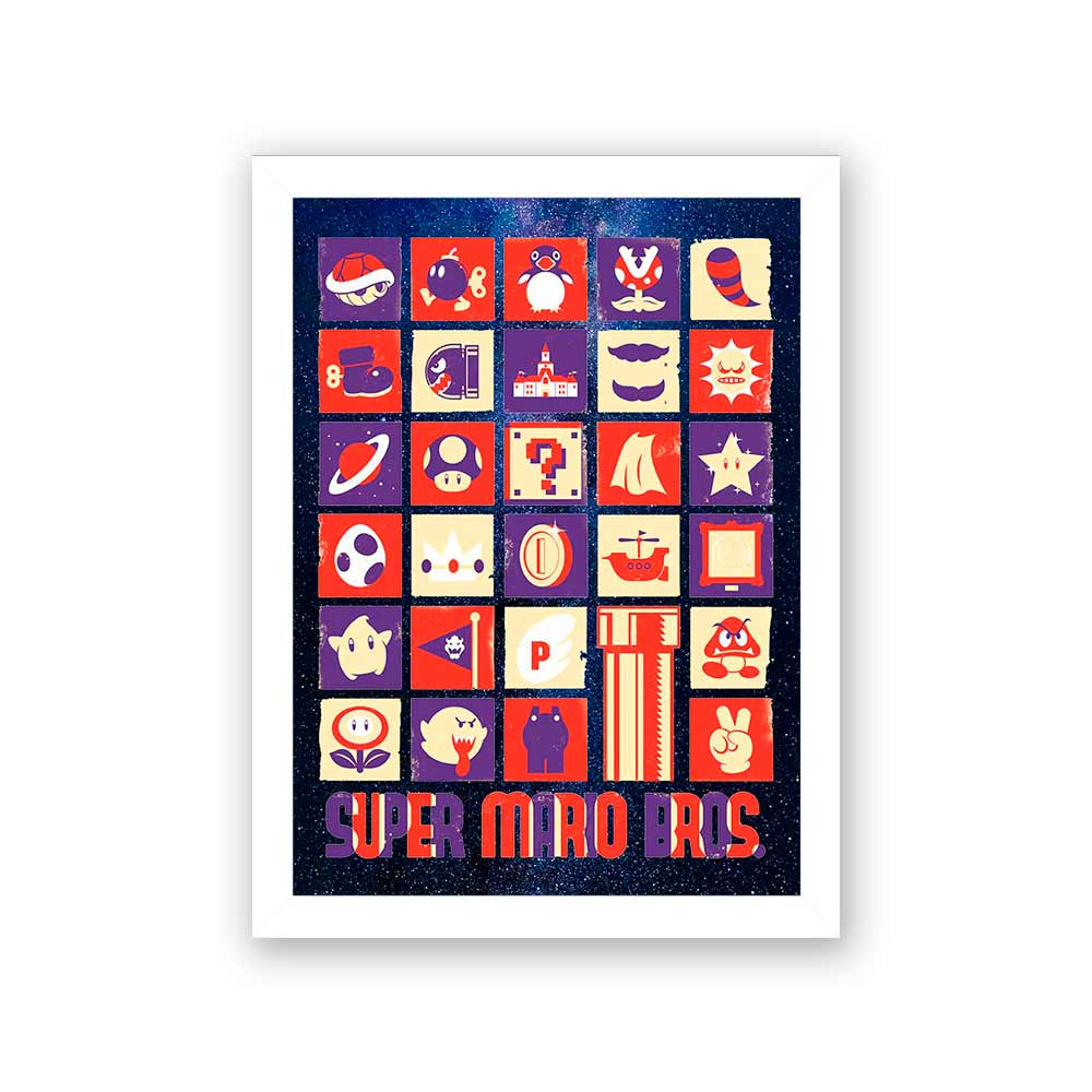 Quadro Decorativo 27x36 Icones Mário Bros
