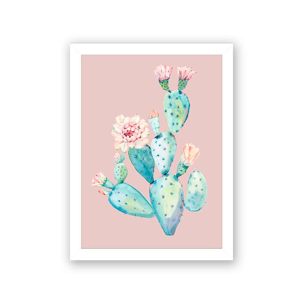 Quadro Decorativo 27x36 Ilustração Cacto com Flor Fundo Rosa