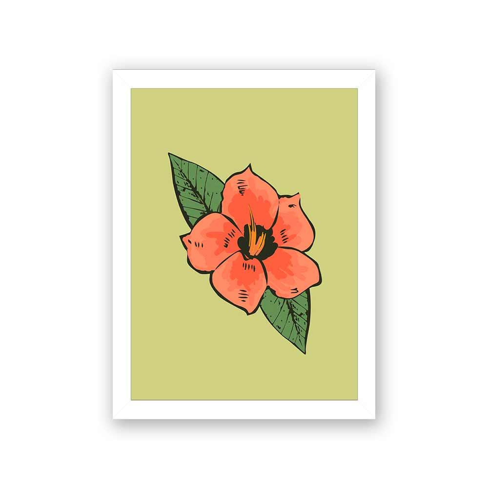 Quadro Decorativo 27x36 Ilustração Flor Laranja Fundo Verde
