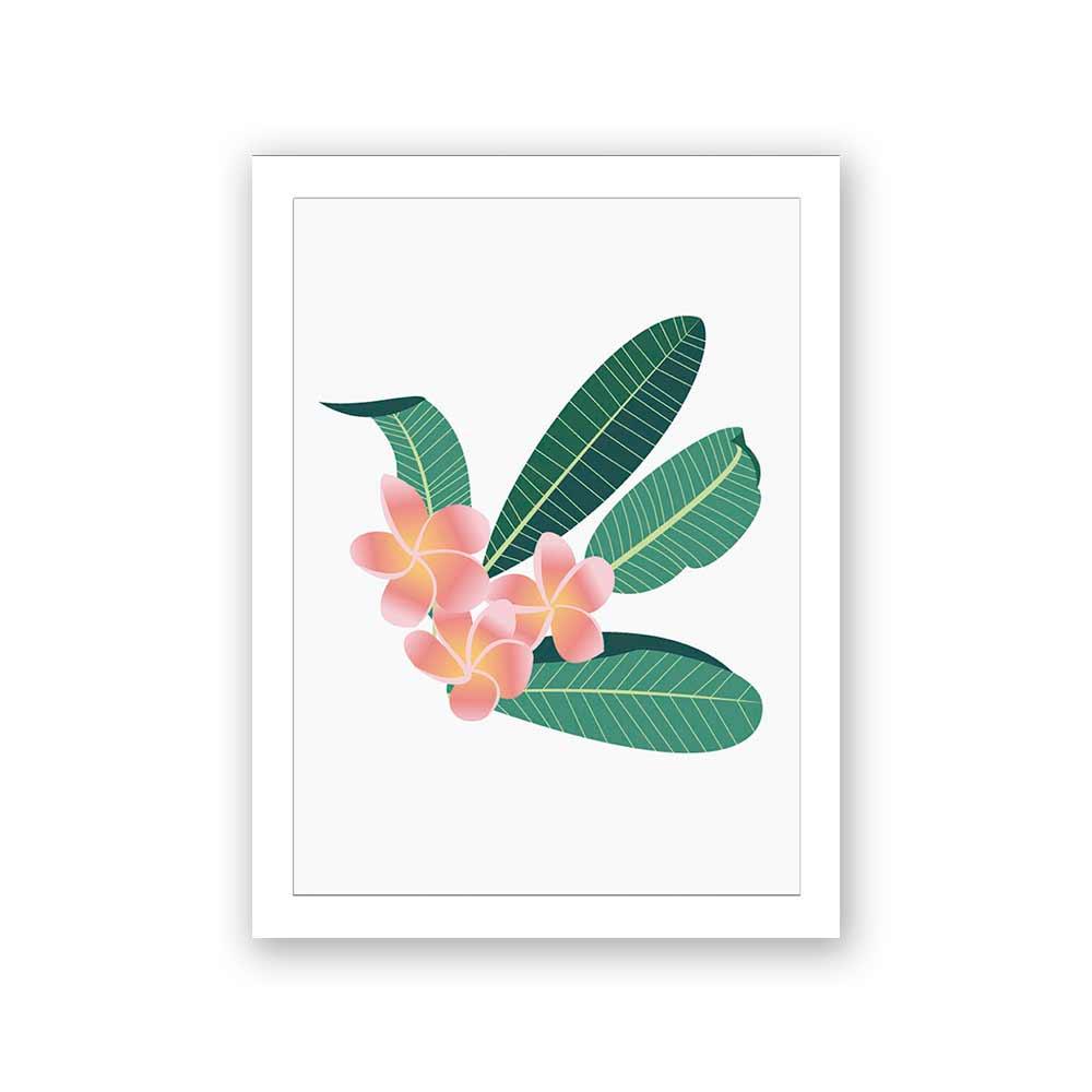 Quadro Decorativo 27x36 Ilustração Flor Plumeria