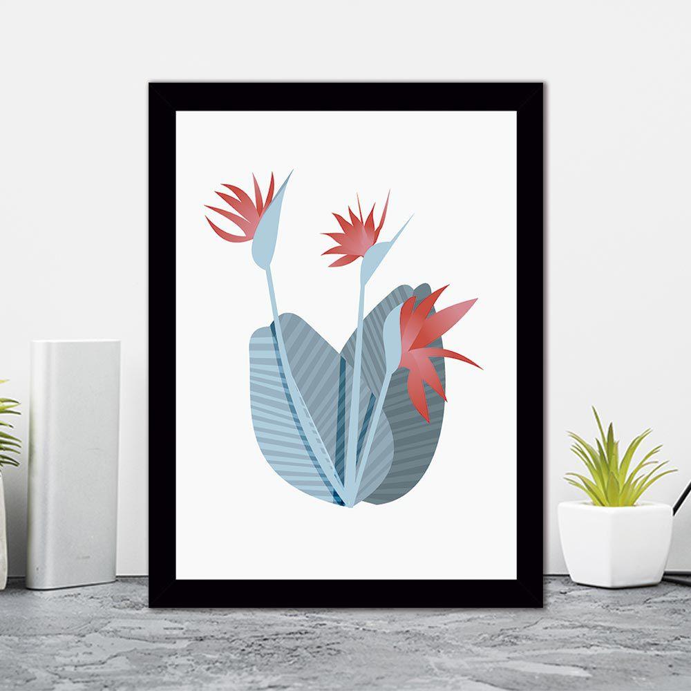 Quadro Decorativo 27x36 Ilustração Flor Tropical -1