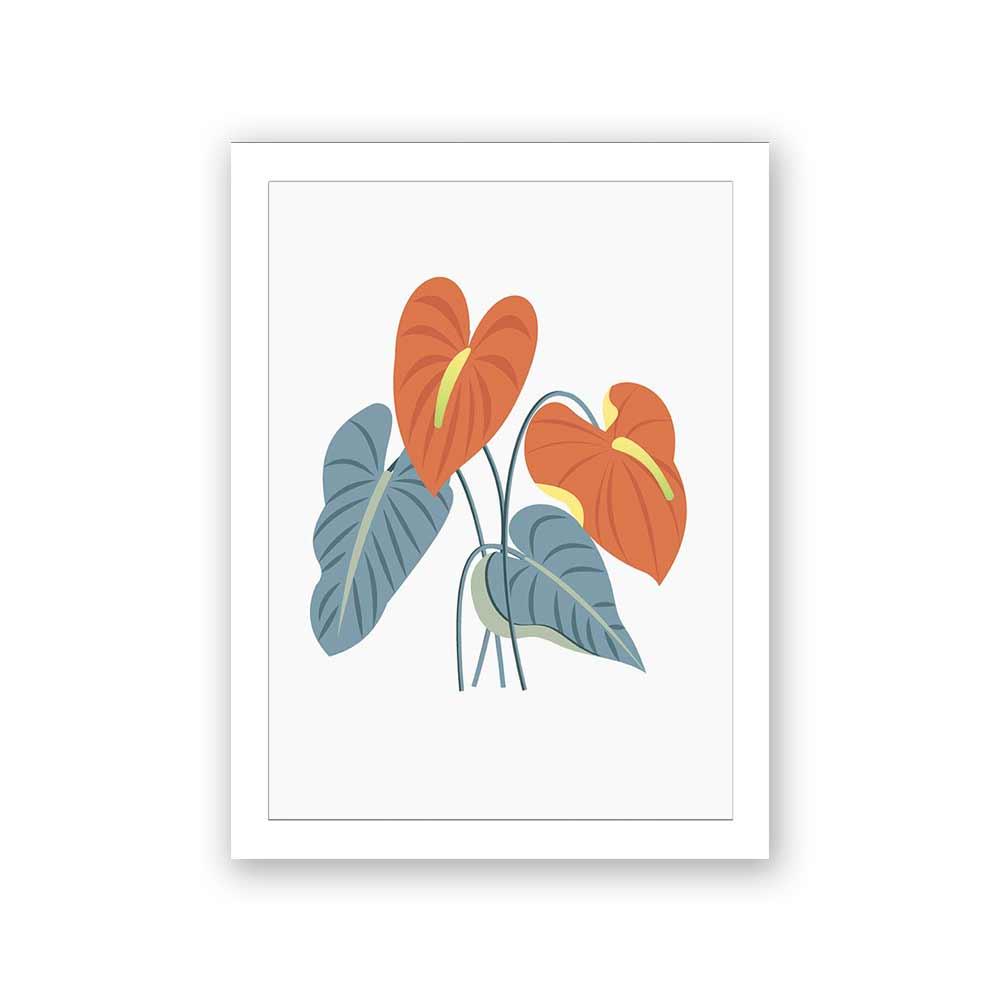 Quadro Decorativo 27x36 Ilustração Flor Tropical