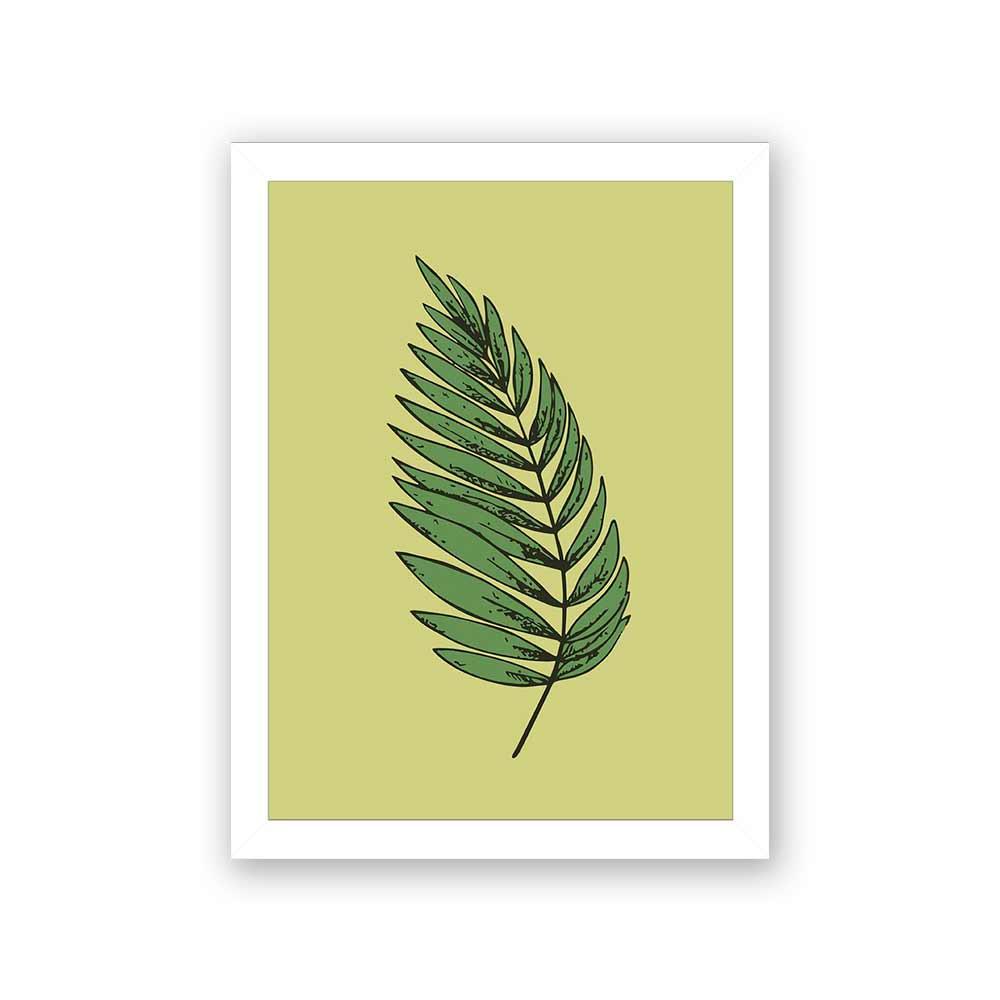 Quadro Decorativo 27x36 Ilustração Folhagem Fundo Verde