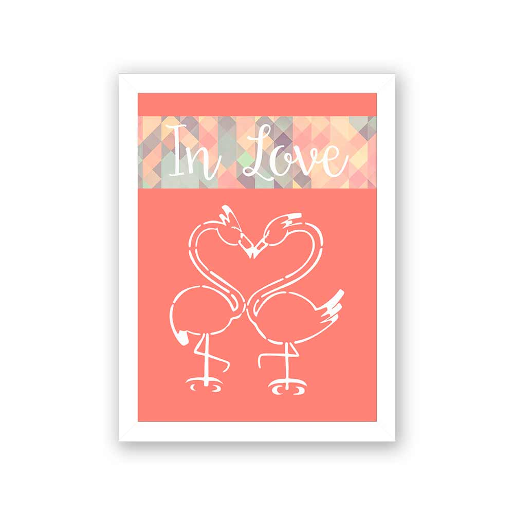 Quadro Decorativo 27x36 In Love Flamingo