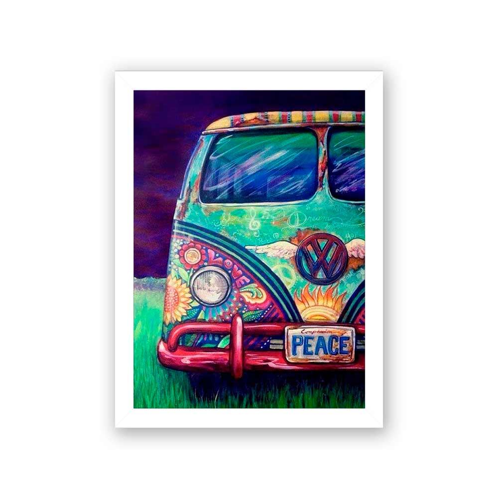 Quadro Decorativo 27x36 Kombi Hippie