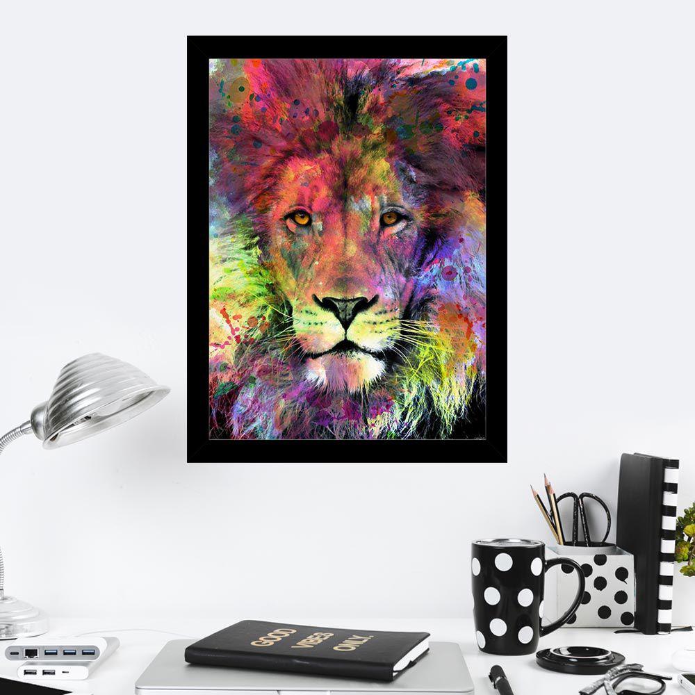 Quadro Decorativo 27x36 Leão Colorido