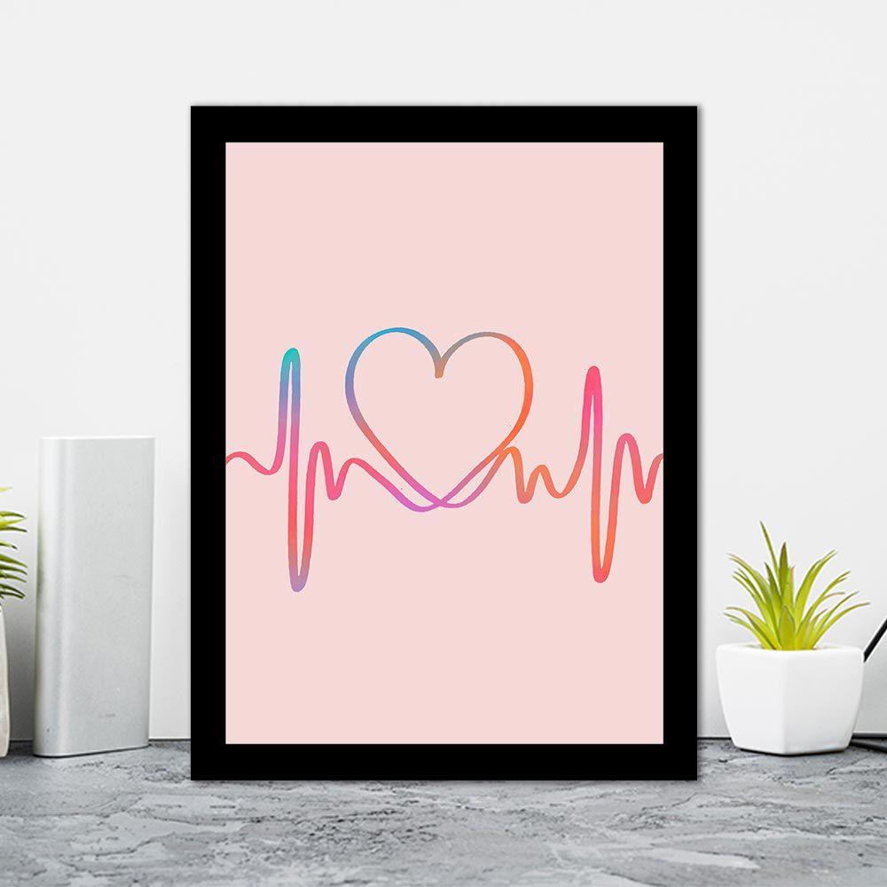 Quadro Decorativo 27x36 Linha da Vida em Forma de Coração
