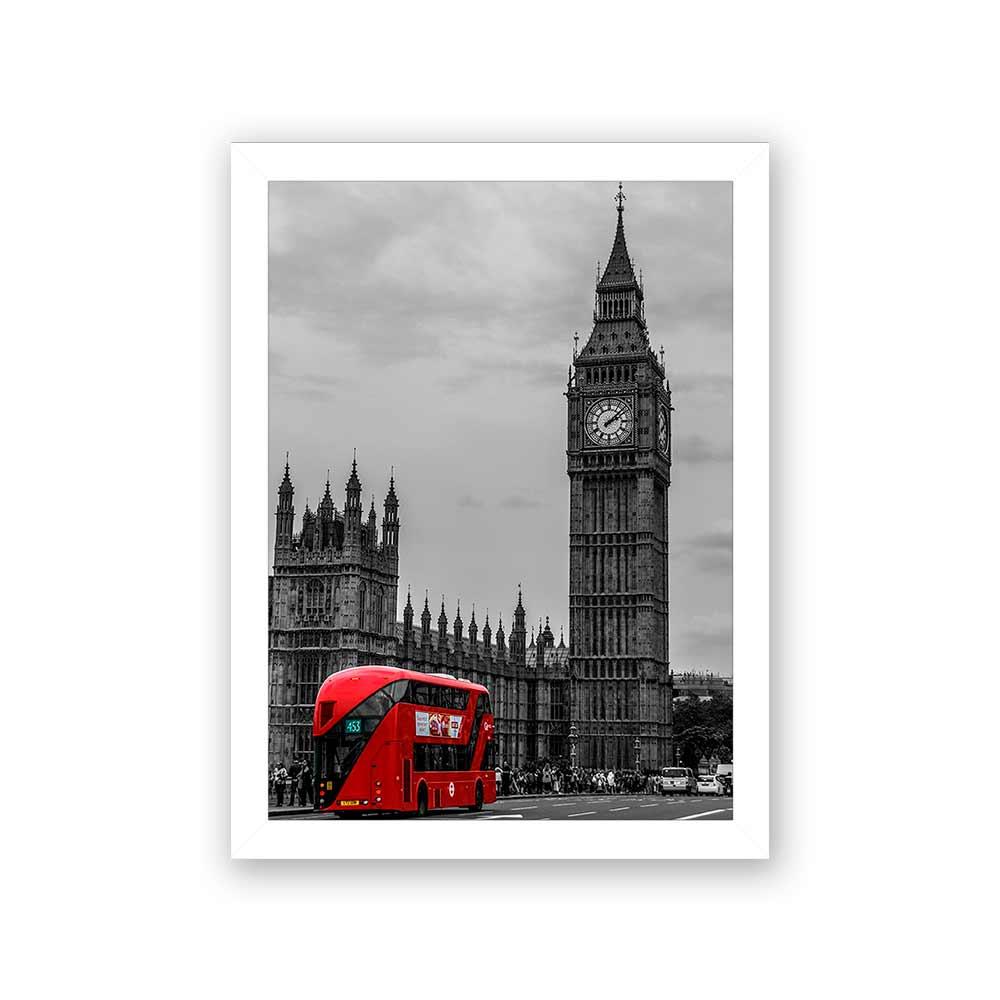 Quadro Decorativo 27x36 Londres Big Bem Onib8us Vermelho