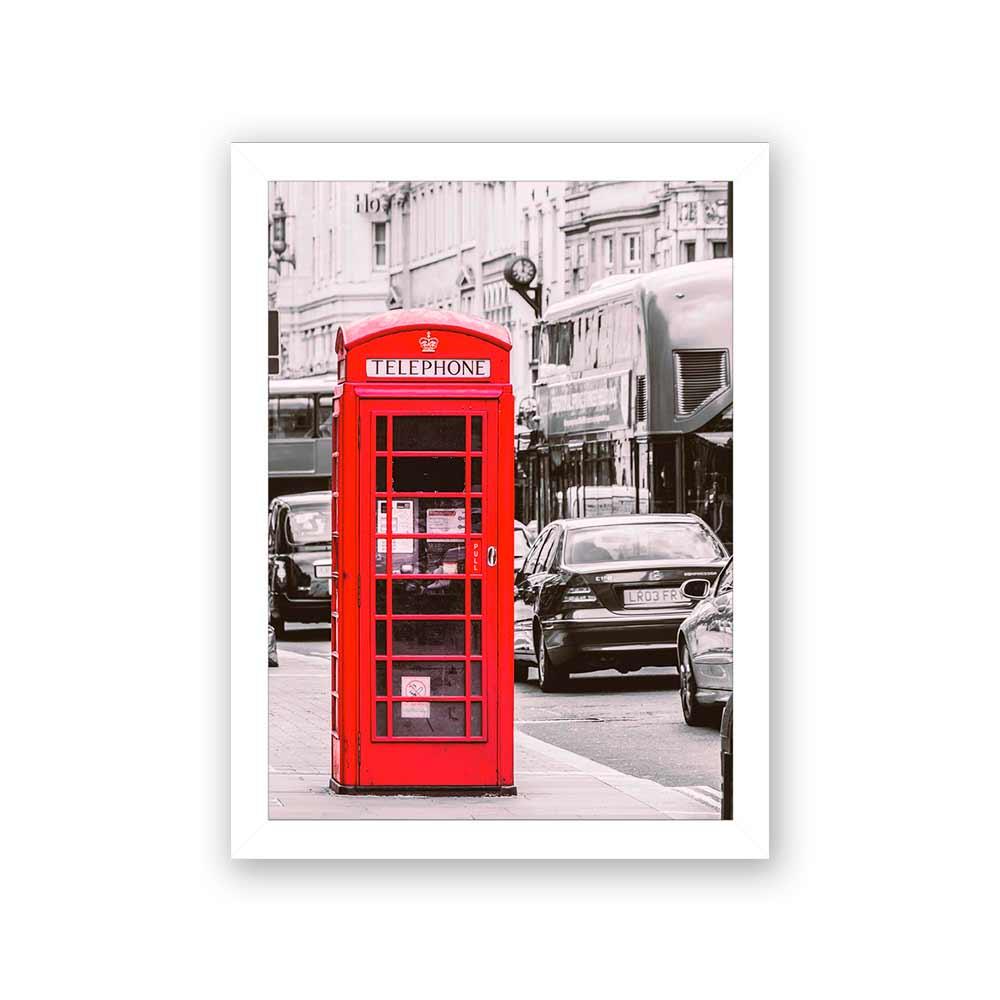 Quadro Decorativo 27x36 Londres Cabine Vermelha