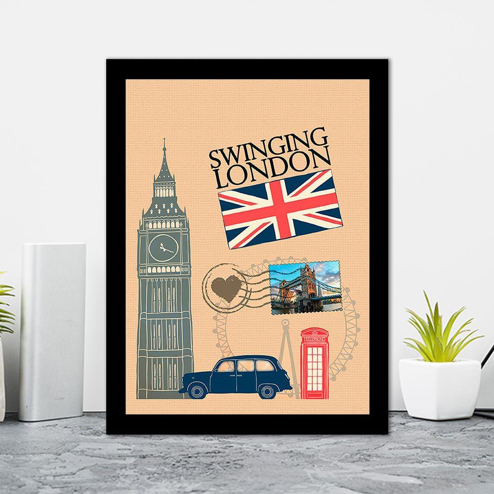 Quadro Decorativo 27x36  Londres Desenho Cartão Postal