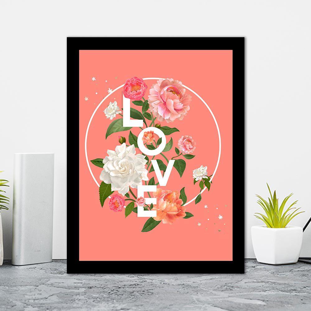 Quadro Decorativo 27x36 Love Floral Fundo Salmão