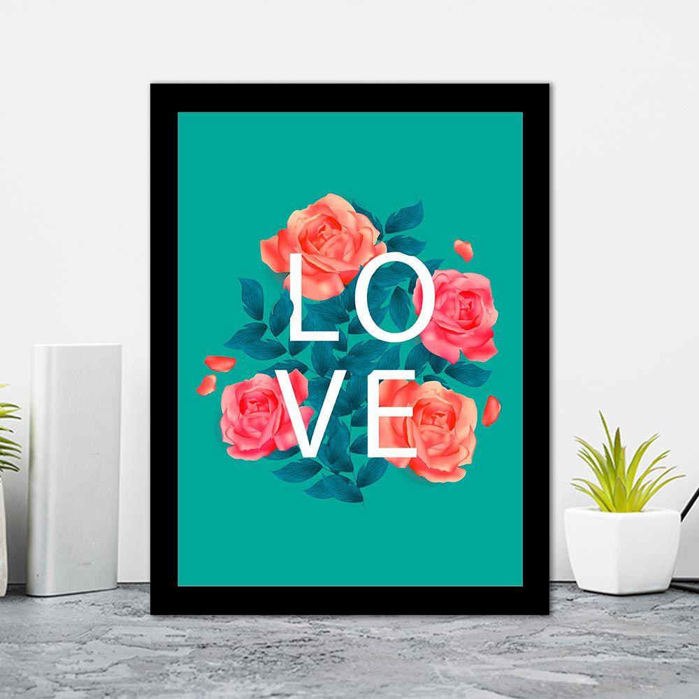 Quadro Decorativo 27x36 Love Floral Fundo Verde