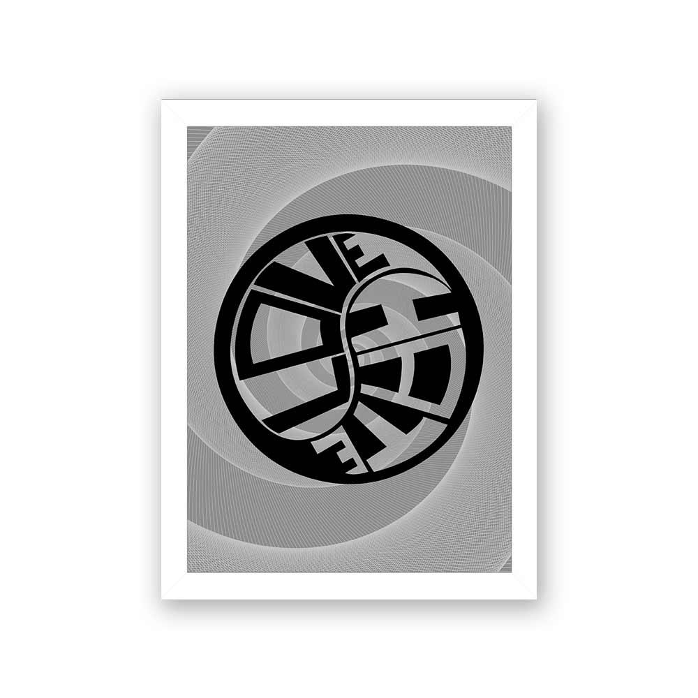 Quadro Decorativo 27x36 Love Hate - Preto e Branco
