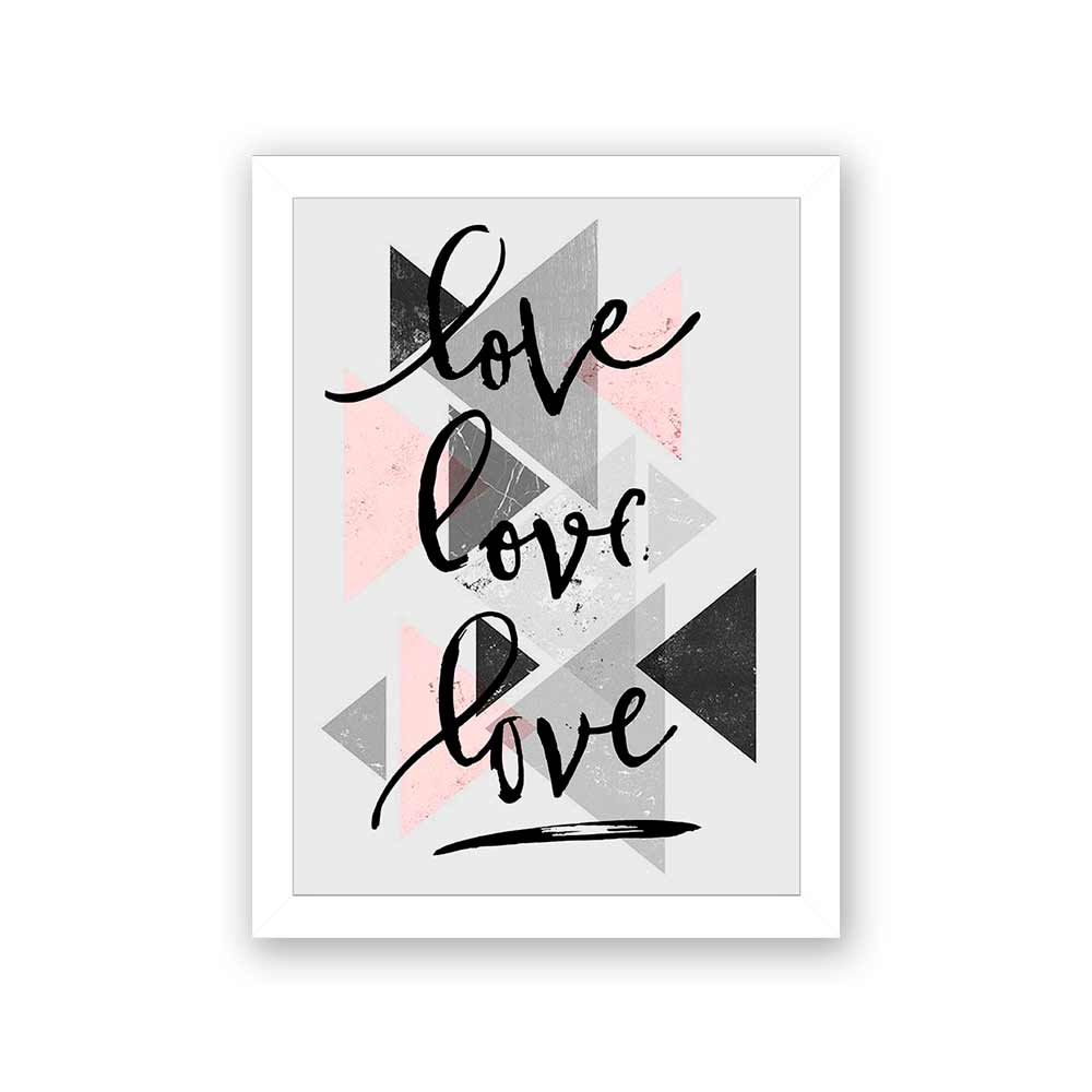 Quadro Decorativo 27x36 Love Love Love Fundo Geométrico
