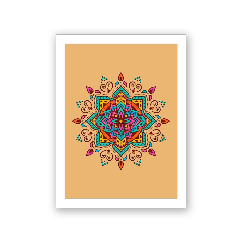 Quadro Decorativo 27x36 Mandala 1 -  Fundo Amarelo