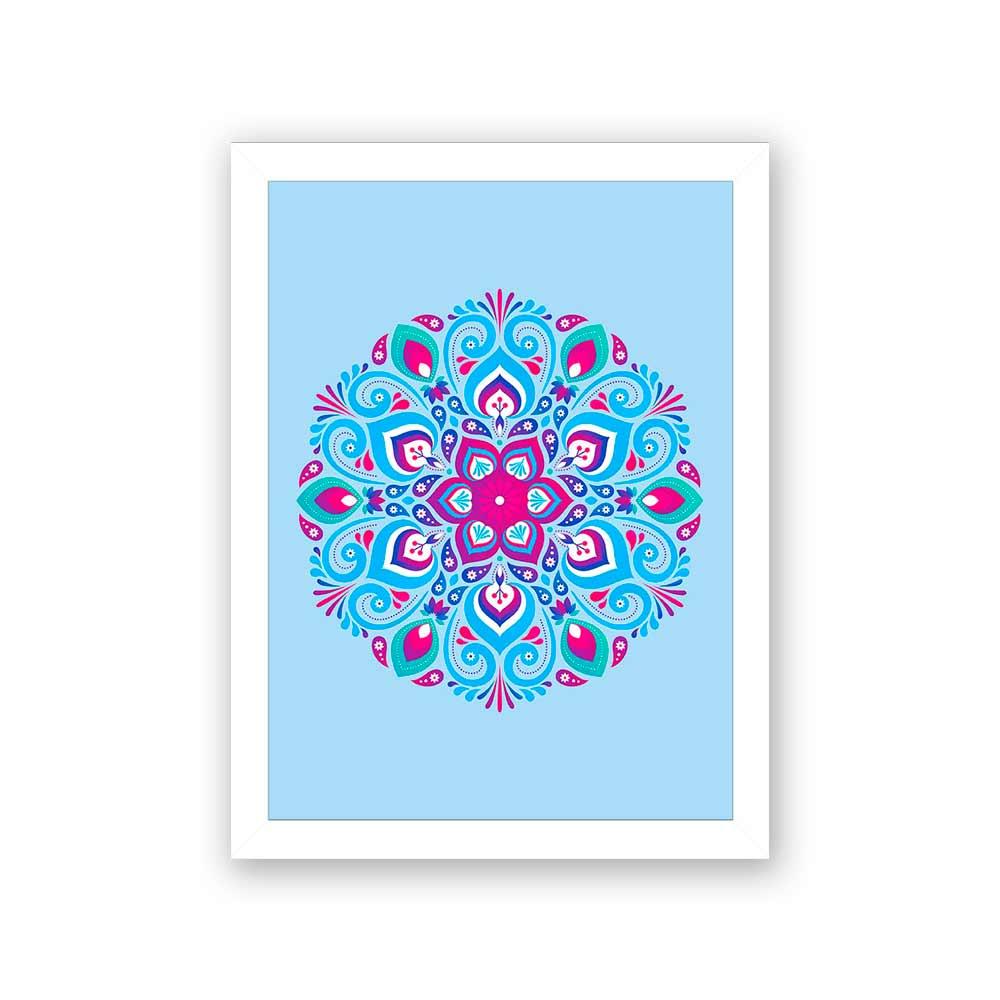 Quadro Decorativo 27x36 Mandala 2 -  Fundo Azul