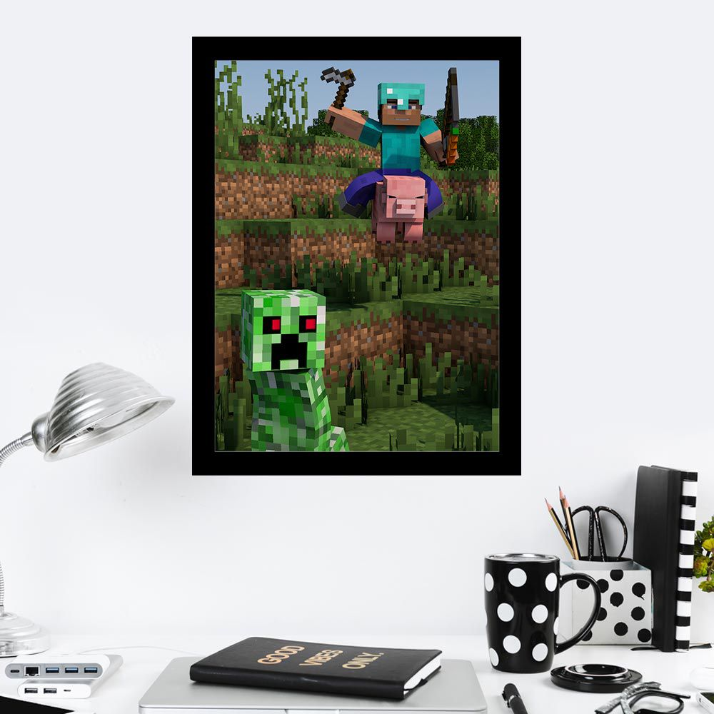 Quadro Decorativo 27x36 MineCraft no Porco
