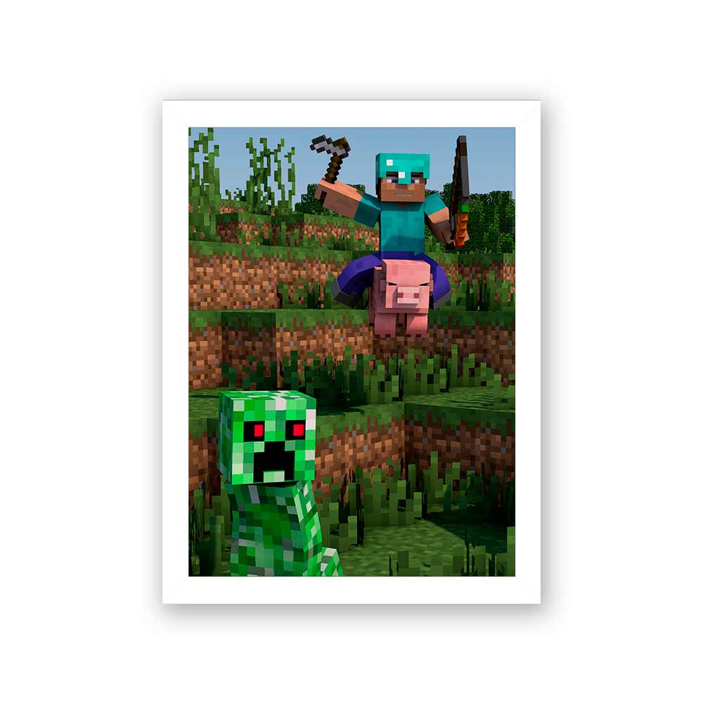 Quadro Decorativo 27x36 MineCraft no Porco