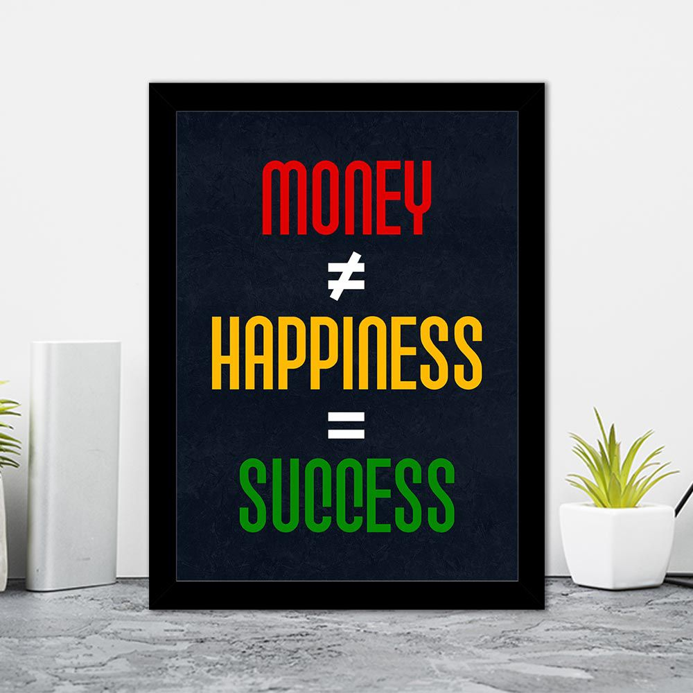 Quadro Decorativo 27x36 Money <> Happiness = Success
