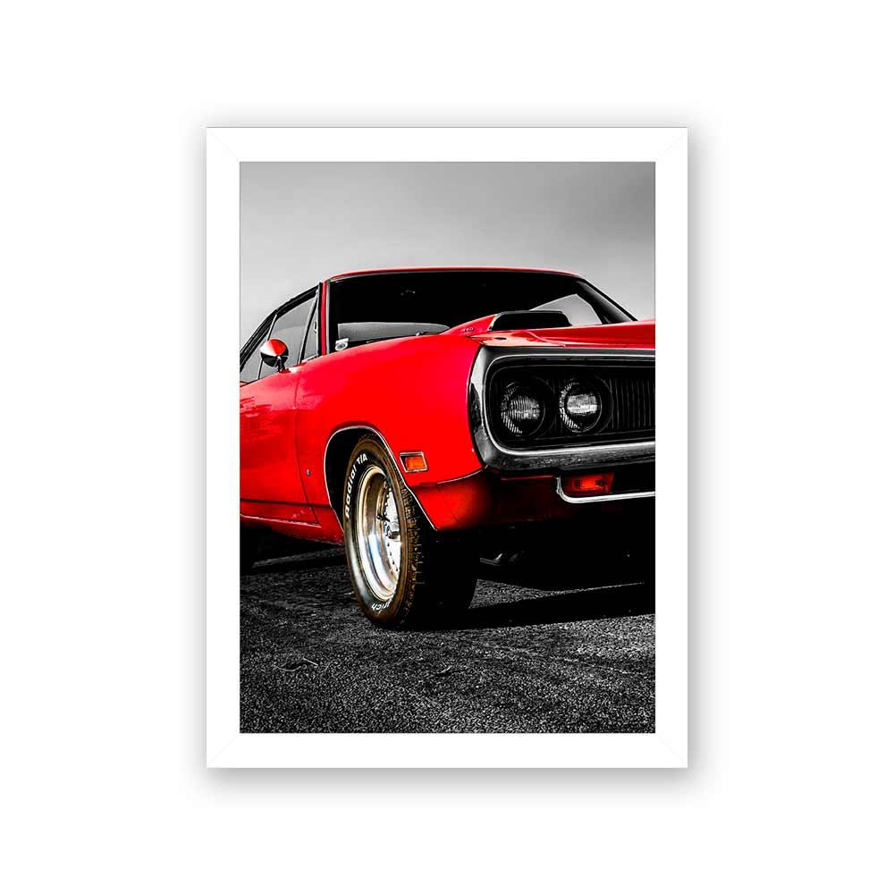 Quadro Decorativo 27x36 Mustang Vermelho