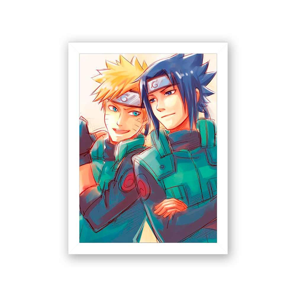 Quadro Decorativo 27x36 Naruto e Sasuke