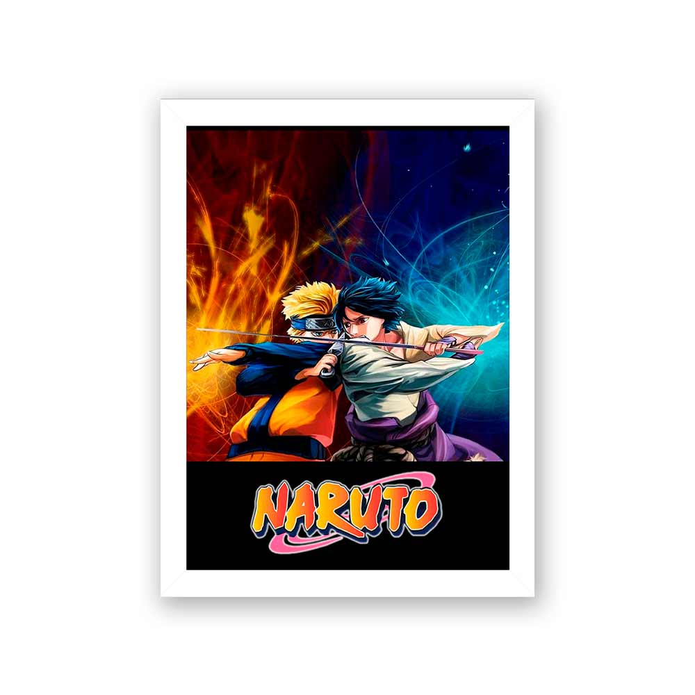 Quadro Decorativo 27x36 Naruto vs Sasuke