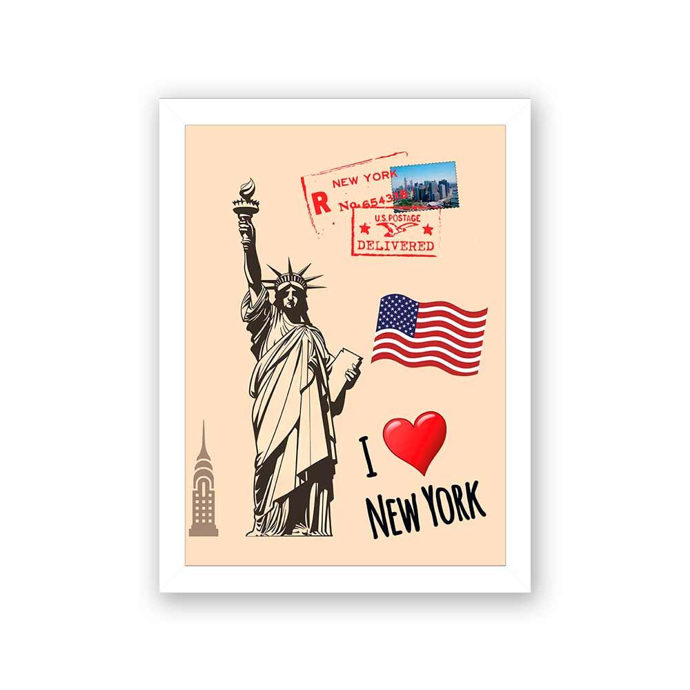 Quadro Decorativo 27x36 NY Desenho Cartão Postal