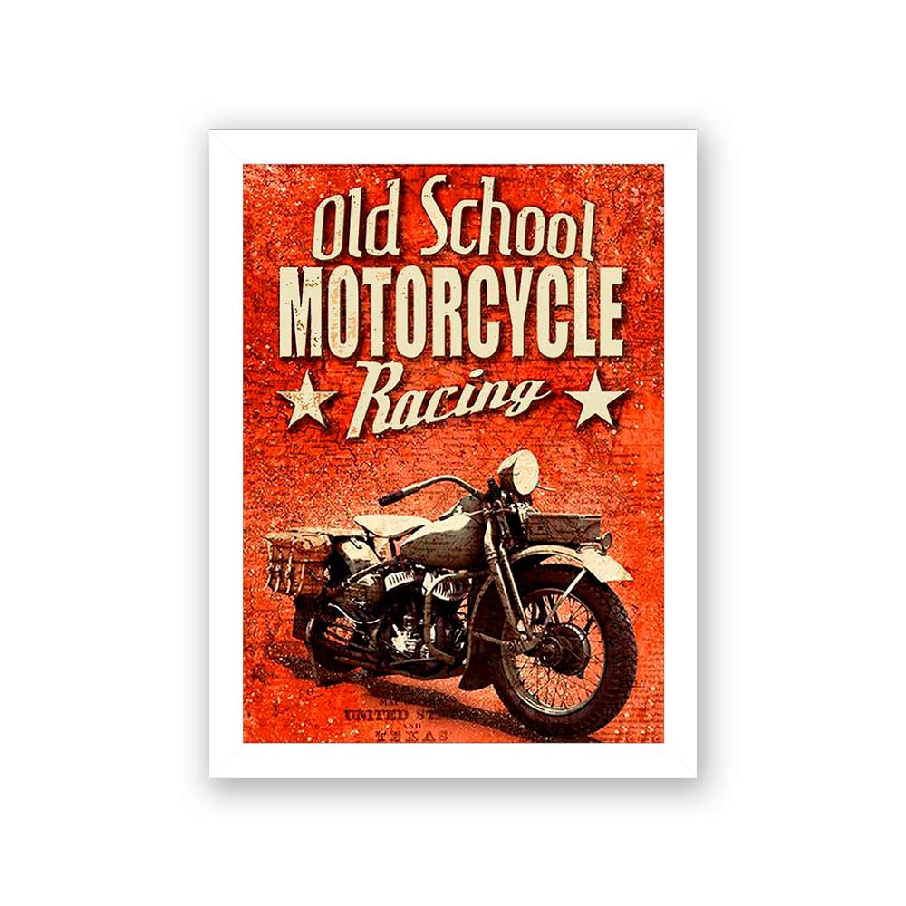 Quadro Decorativo 27x36 Old School Motorcycle Racing