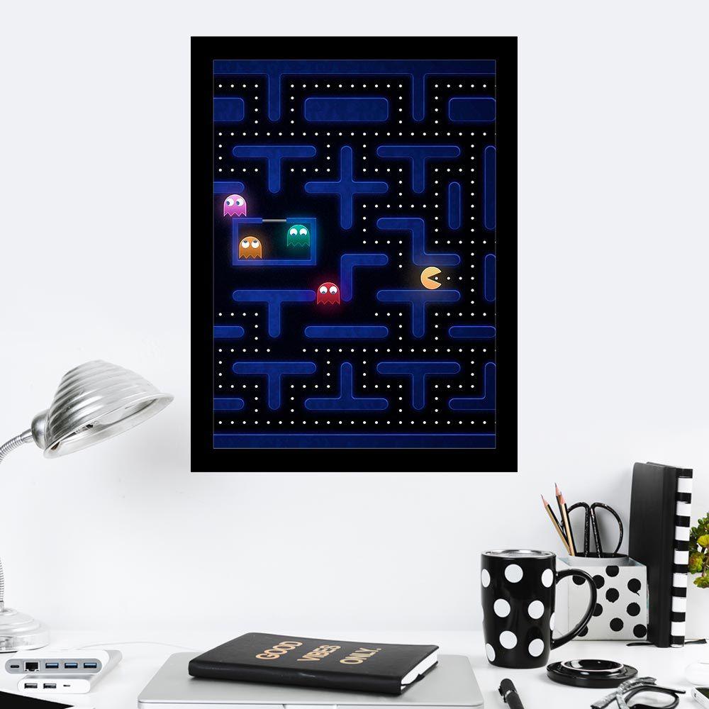 Quadro Decorativo 27x36 Pac Man