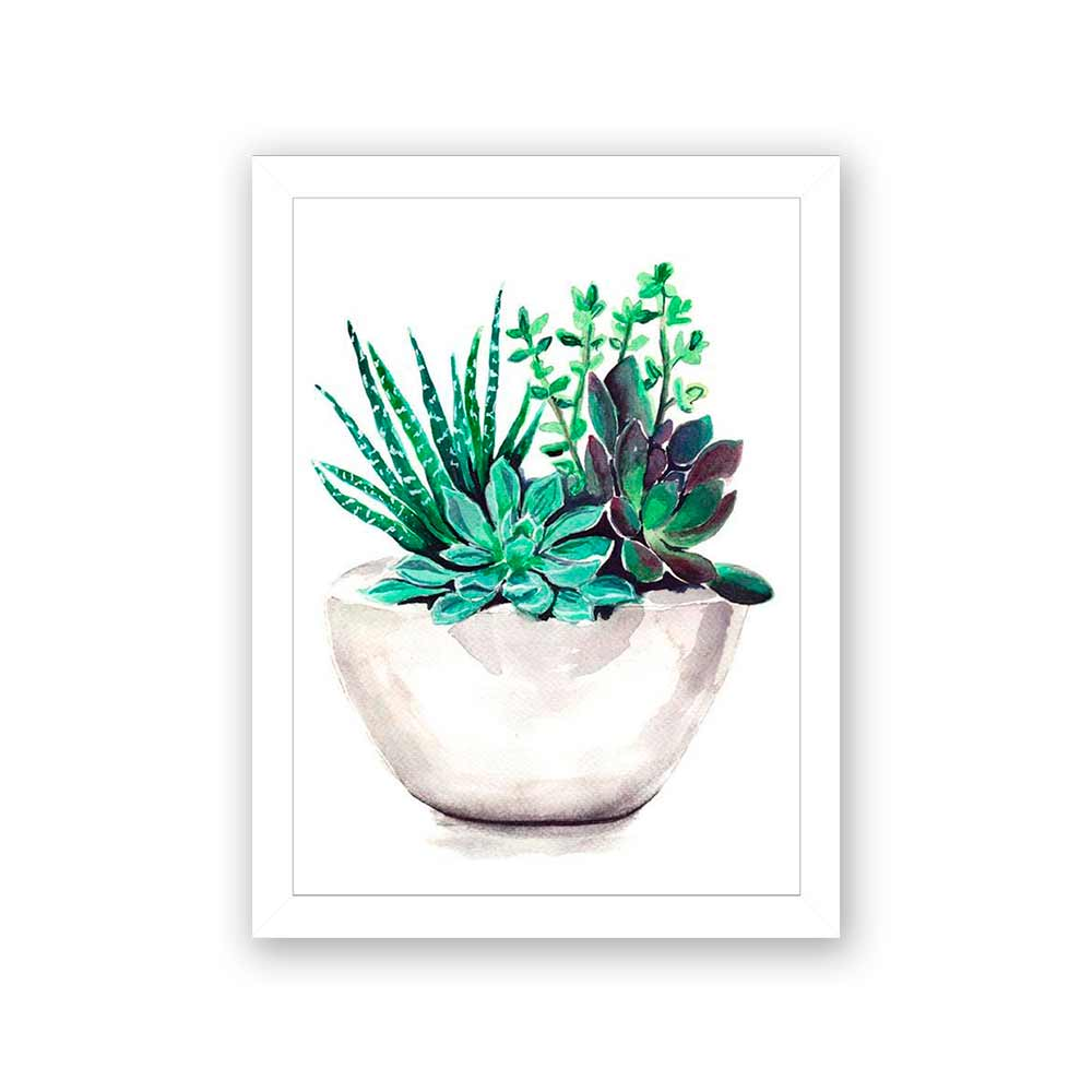 Quadro Decorativo 27x36 Pintura de Vaso de Suculentas