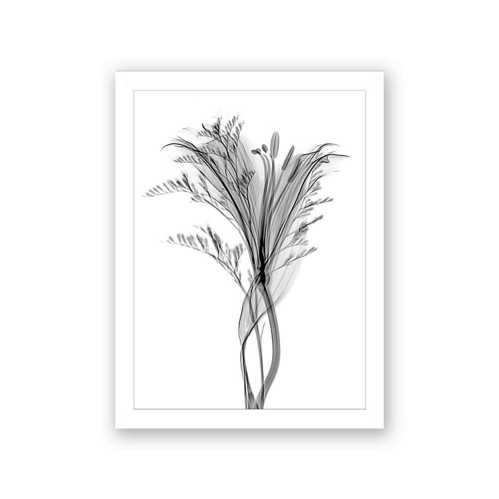 Quadro Decorativo 27x36 Raio X Flor Preto e Branco