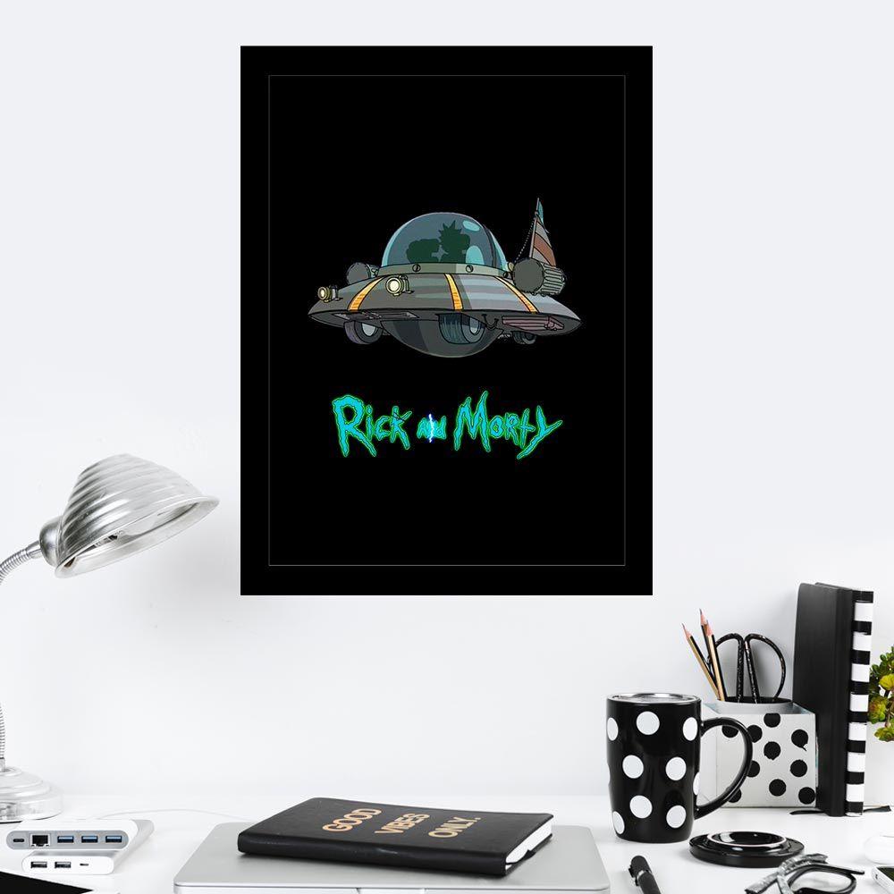 Quadro Decorativo 27x36 Rick and Morty Nave