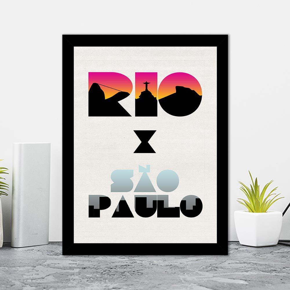 Quadro Decorativo 27x36 Rio x São Paulo