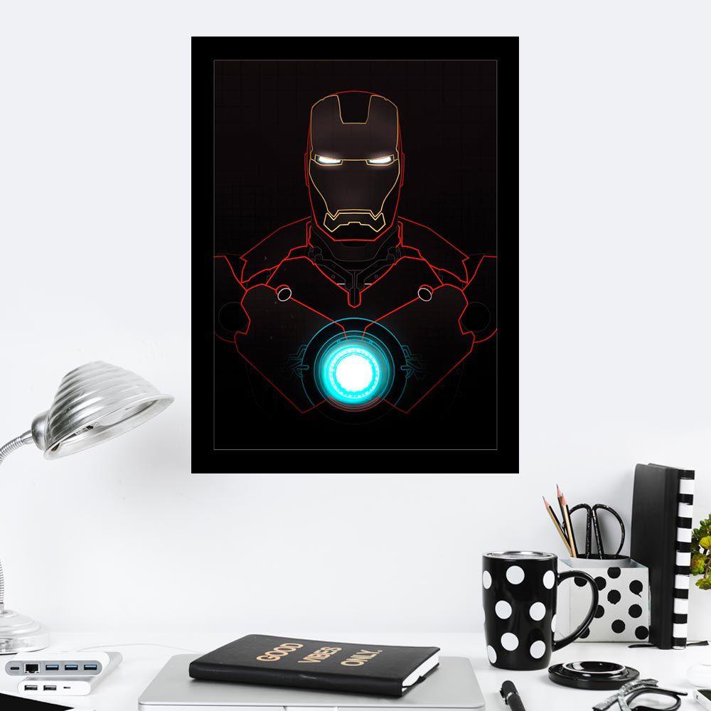 Quadro Decorativo 27X36  Silhueta Homem de Ferro