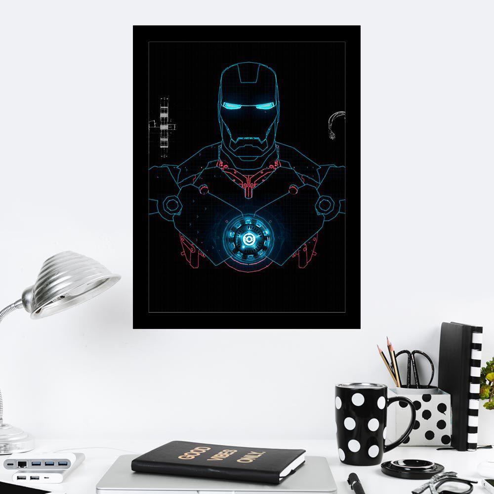 Quadro Decorativo 27X36 Silhueta Homem de Ferro Azul