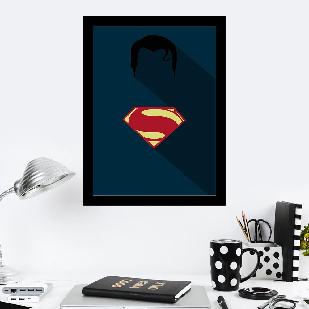 Quadro Decorativo 27X36 Super Homem Minimalista