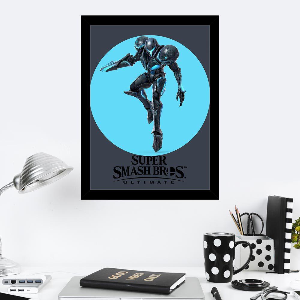 Quadro Decorativo 27x36 Super Smash Bros Dark Samus