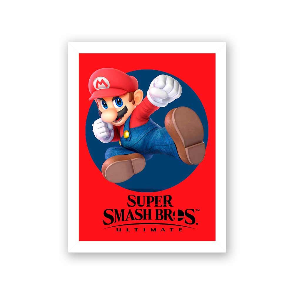 Quadro Decorativo 27x36 Super Smash Bros Mário