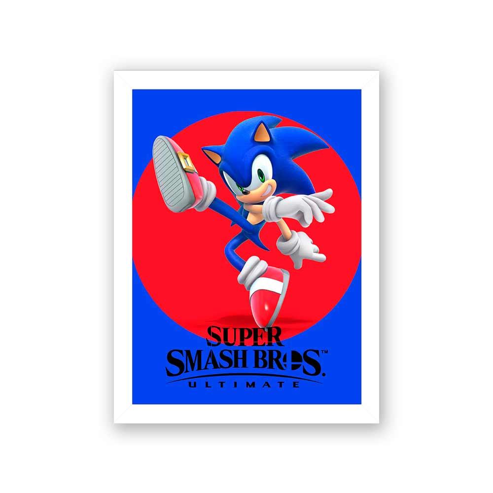 Quadro Decorativo 27x36 Super Smash Bros Sonic
