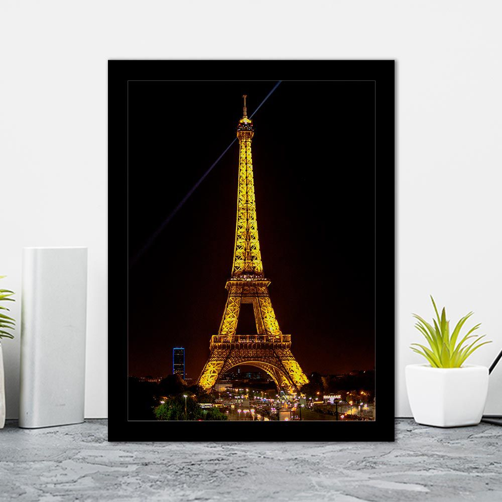 Quadro Decorativo 27x36 Torre Eiffel à Noite