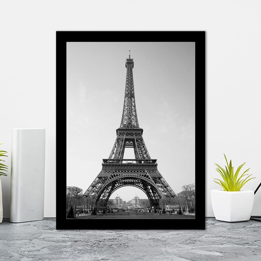 Quadro Decorativo 27x36 Torre Eiffel Preto e Branco II