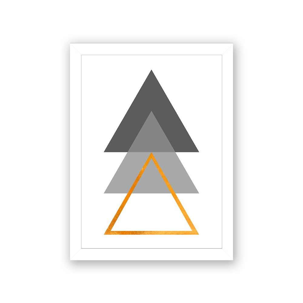 Quadro Decorativo 27x36 Três Formatos de Triângulos