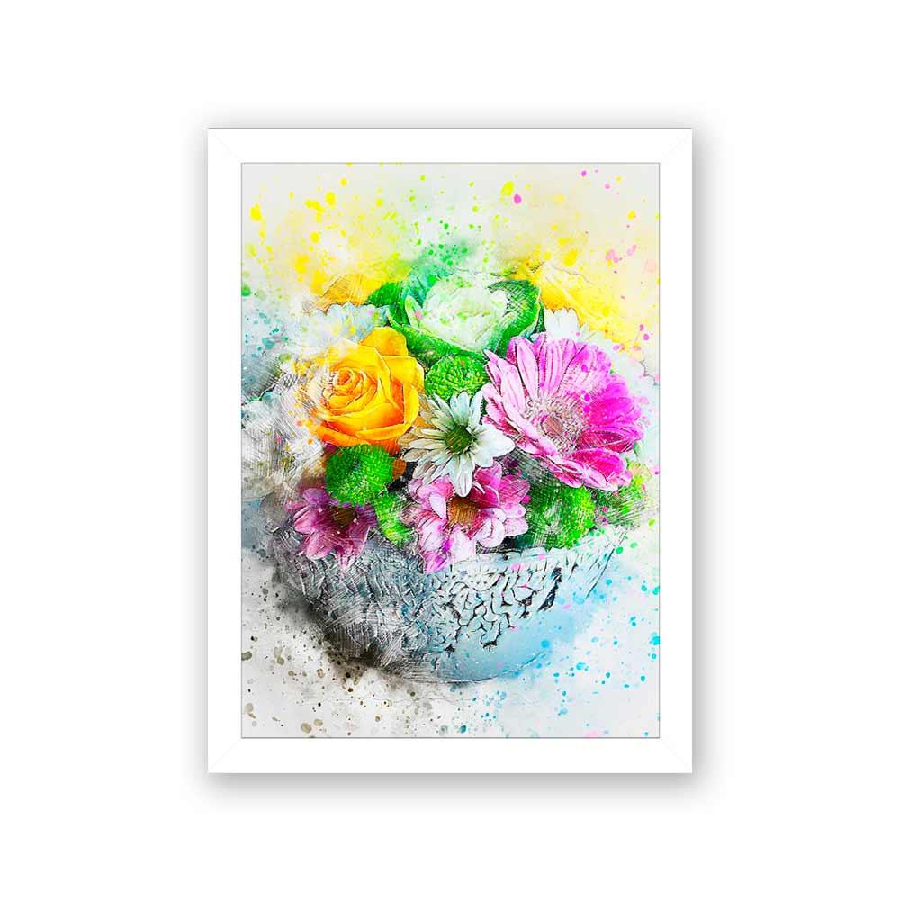 Quadro Decorativo 27x36 Vaso de Flores em Pintura