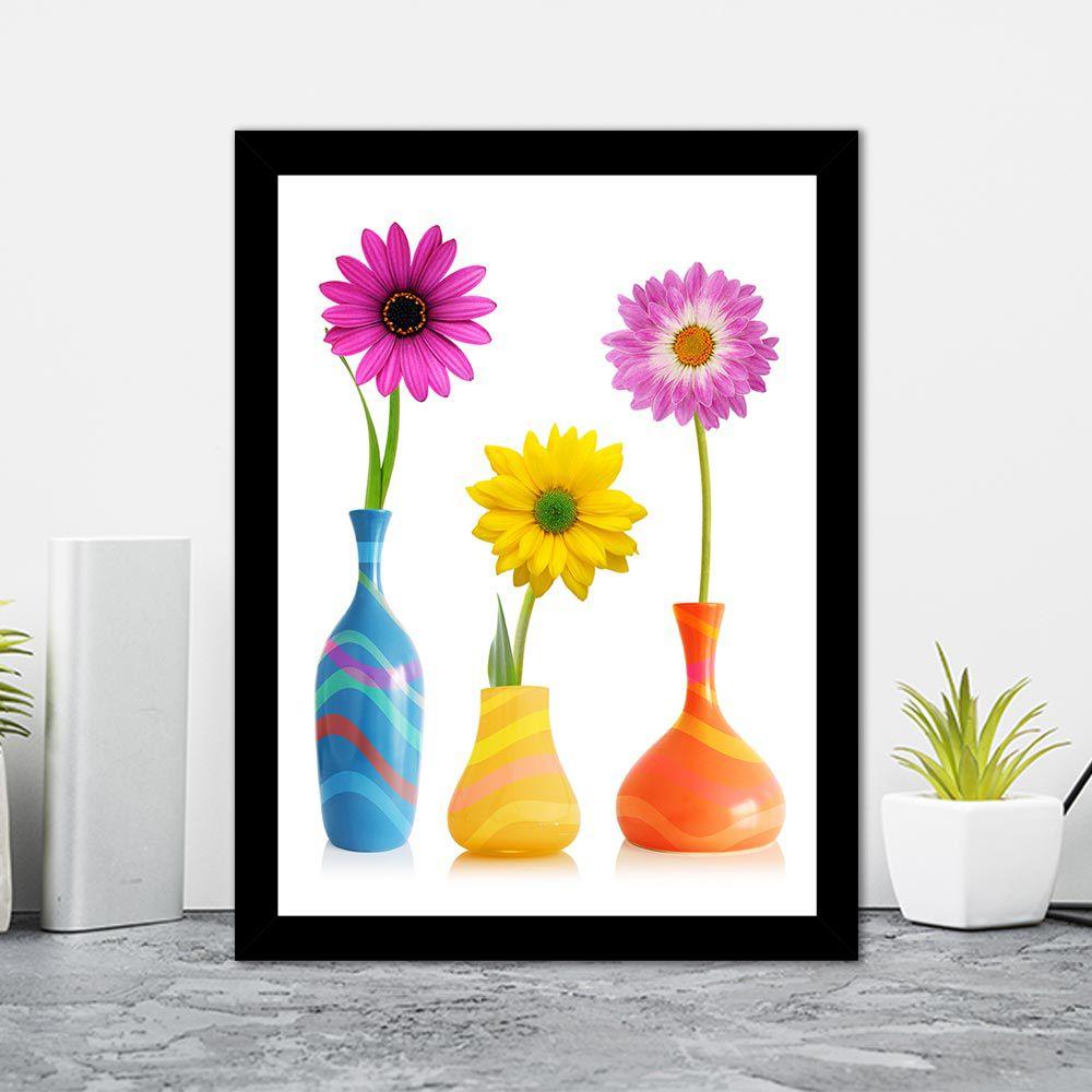 Quadro Decorativo 27x36 Vasos de Flores